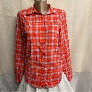 Helly Hansen orange plaid button up shirt